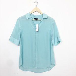 J. Crew NWT Sea Green Silk Short Sleeve Button Up